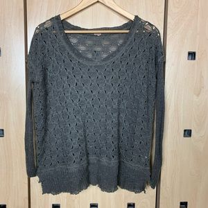 Free People Distressed Knit Long Sleeve Top